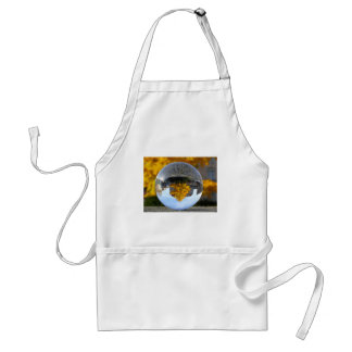 Colors of Autumn Gingko tree, crystal ball Adult Apron