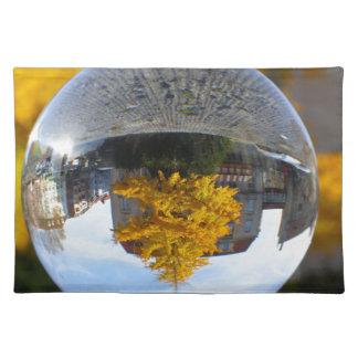 Colors of Autumn Gingko tree, crystal ball Cloth Place Mat