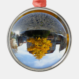 Colors of Autumn Gingko tree, crystal ball Round Metal Christmas Ornament