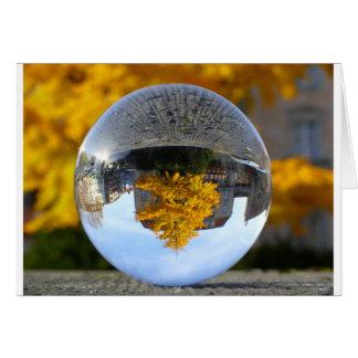 Colors of Autumn Gingko tree, crystal ball Greeting Card