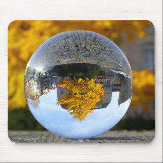 Colors of Autumn Gingko tree, crystal ball Mouse Pad