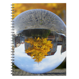 Colors of Autumn Gingko tree, crystal ball Spiral Notebook