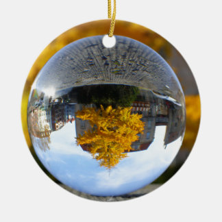 Colors of Autumn Gingko tree, crystal ball Round Ceramic Decoration