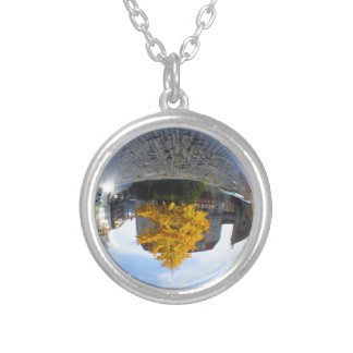 Colors of Autumn Gingko tree, crystal ball Round Pendant Necklace