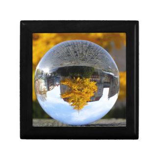 Colors of Autumn Gingko tree, crystal ball Small Square Gift Box