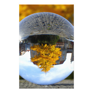 Colors of Autumn Gingko tree, crystal ball Stationery