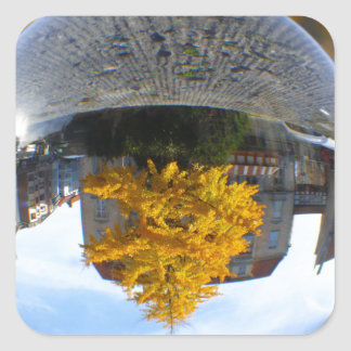 Colors of Autumn Gingko tree, crystal ball Square Sticker