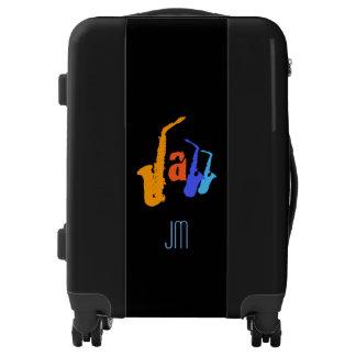 Colors of Jazz Sax Illustration Black Luggage 2