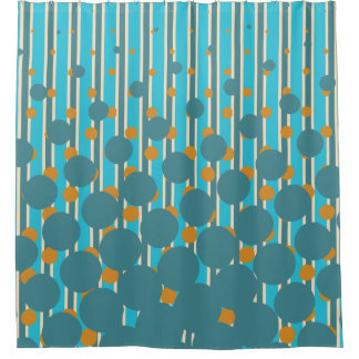 Colors of New Zealand in Turquoise and Orange Shower Curtain