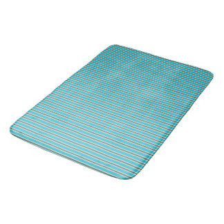 Colors of New Zealand in Turquoise Stripes Bath Mat