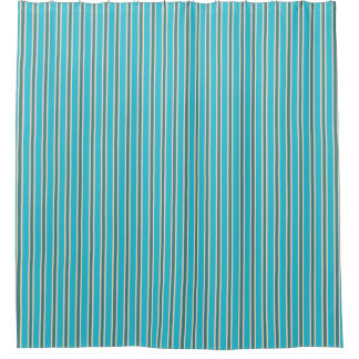 Colors of New Zealand in Turquoise Stripes Shower Curtain