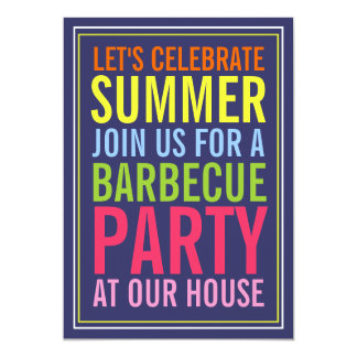 Colors of Summer Bold BBQ Party Invitation