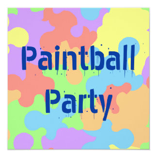 COLORS PAINT SPLATTER PAINTBALL PARTY INVITATIONS