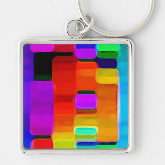 Colors Silver-Colored Square Key Ring