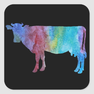 Colorwashed Cows Square Sticker