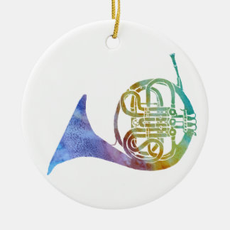 Colorwashed French Horn Round Ceramic Decoration