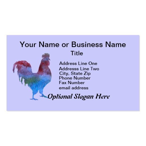 Colorwashed Rooster Business Card Template