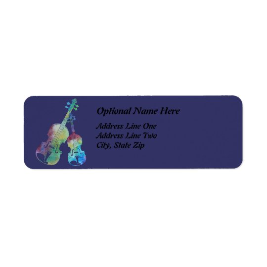 Colorwashed Violin and Viola Return Address Label