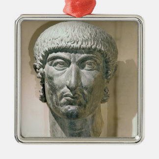 Colossal head of Emperor Constantine I Silver-Colored Square Decoration