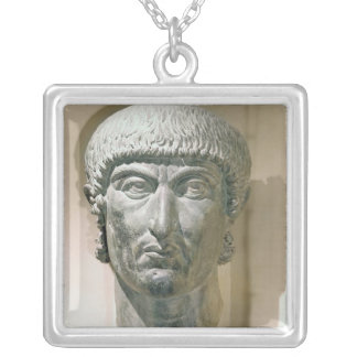 Colossal head of Emperor Constantine I Silver Plated Necklace