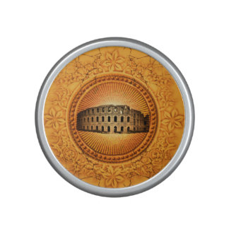 Colosseum on a button with floral elements speaker