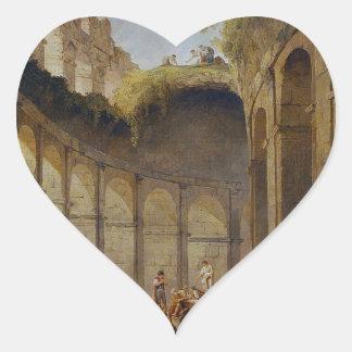 Colosseum, Rome by Hubert Robert Heart Sticker