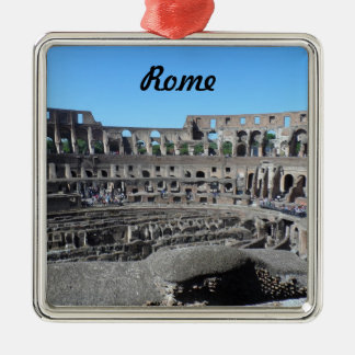 Colosseum- Rome Silver-Colored Square Decoration