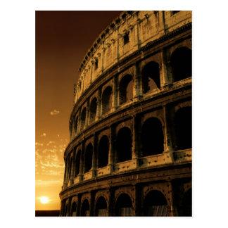 colosseum sunrise in rome postcard