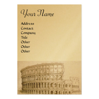 COLOSSEUM ,white brown, gold metallic paper Business Card Templates