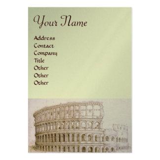 COLOSSEUM ,white brown,silver,platinum metallic Business Card Template