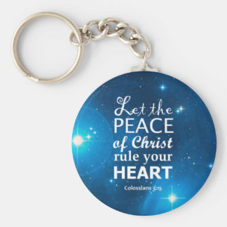 Colossians 3:15 basic round button key ring