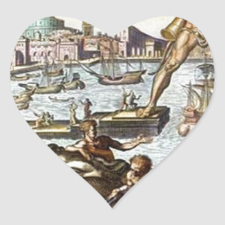 Colossus of Rhodes by Maerten van Heemskerck Heart Sticker
