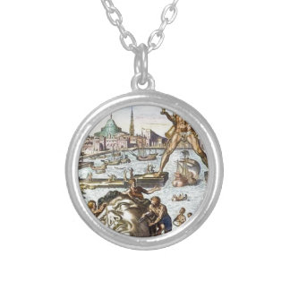 Colossus of Rhodes by Maerten van Heemskerck Round Pendant Necklace