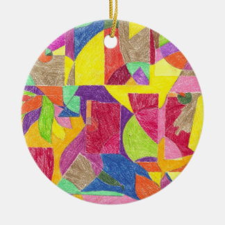 Colour Abstractions Double-Sided Ceramic Round Christmas Ornament