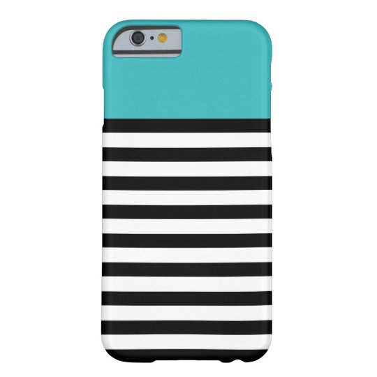 Colour Block Aqua Black White Stripe iPhone 6 Barely There iPhone 6 Case