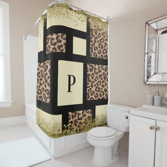 Colour Block Cream Ivory Black Leopard Cheetah Shower Curtain