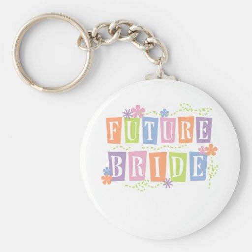 Colour Blocks Future Bride Basic Round Button Key Ring