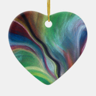 Colour burst ceramic heart decoration
