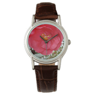 Colour Burst Of A Pink Camellia, Leather Watch. Watch