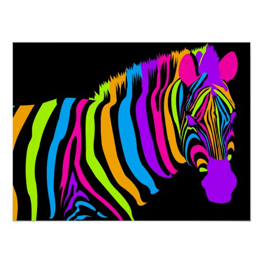 Colour Burst Zebra Poster
