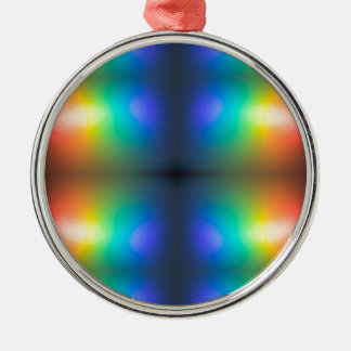 Colour Chaos abstract. Silver-Colored Round Decoration