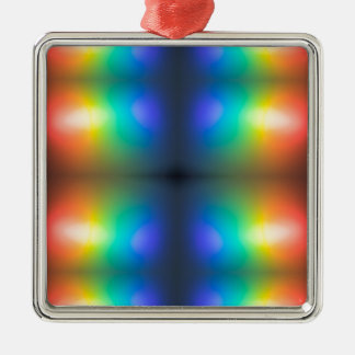 Colour Chaos abstract. Silver-Colored Square Decoration