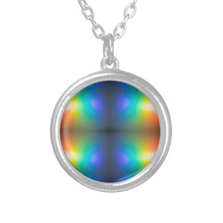 Colour Chaos abstract. Silver Plated Necklace