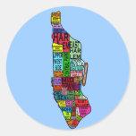 Colour Coded Manhattan NYC Tshirts, Hoodies Round Sticker