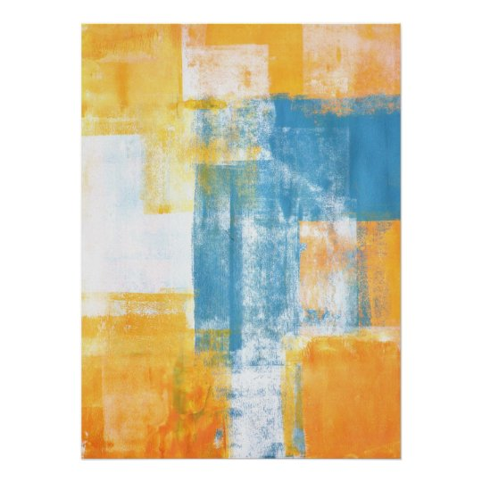 'Colour Combo' Teal and Orange Abstract Art Poster