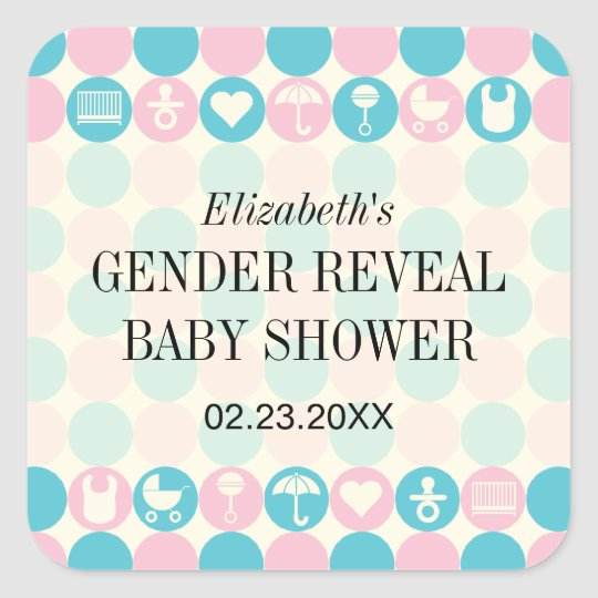 Colour Dots Gender Reveal Baby Shower Sticker