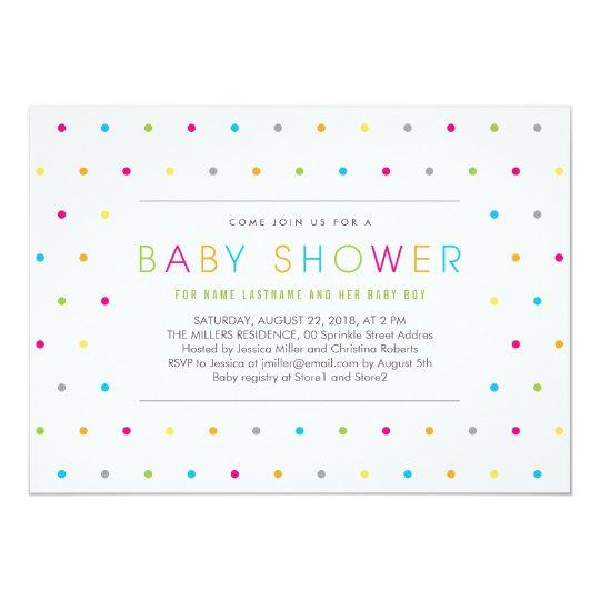 Colour Dots Modern Clean Neutral Baby Shower Card