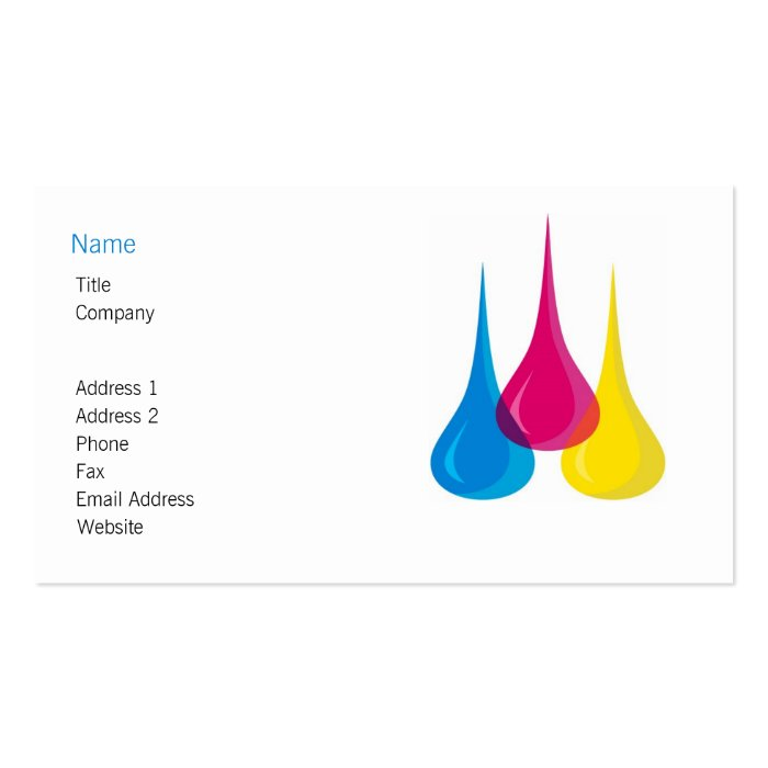 Colour Droplets Business Card Template