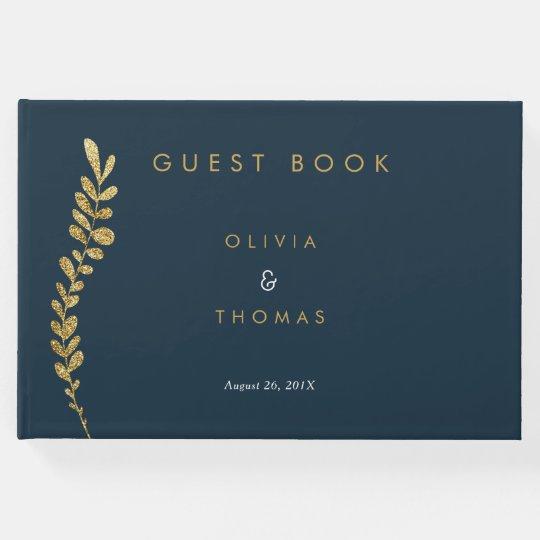 Colour Editable Faux Gold Leaf Wedding Guest Book