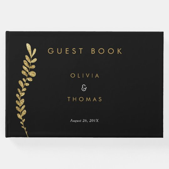 Colour Editable Faux Gold Leaf Wedding Guest Book